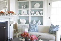 Beach house living room / I like the book shelf colour contrast.