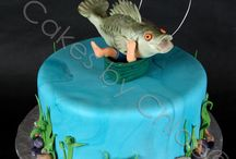 Fishing cakes and figures.