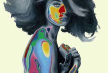 Joshua Davidson / À travers l'art de la peinture, Joshua Davidson fait du glitch son inspiration majeure. Les portraits qu'il compose semblent sortir d'un rêve psychédelique : les visages se confondent, se déforment en vibrations visuelles colorées, rappelant l'effet surprenant qui peut se produire sur une photo abimée.