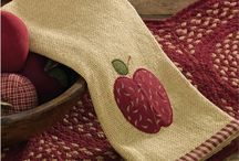 Pattern: Burlap Apple / Burlap Apple Collection adds sophisticated country charm, featuring a natural soft burlap with an appliqued apple border and red mini check edging, perfect for your primitive or country farmhouse home decor. Pairs well with our Burlap & Check Red window treatments. / by Piper Classics