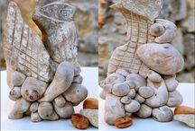 ALAIN GIRELLI SCULPTURES PIERRE ET BOIS Land Art, reconsidered/ ACIER ET BOIS /  pierres de Provence gravées et arbres de Juniperus oxycedrus qu'on appelle Cade _ acier ,fer et bois de cade (mes déchets la poudre c'est de l'encens )