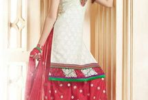 Patiala Salwar Suits / Resham Thread Embroidered Cotton Patiala Salwar Suits