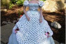 Blue and white crochet dress