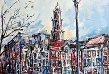 Amsterdam / Geïnspireerd door de architectuur en de dynamiek van de stad vertaalt Matthijs karakteristiek Amsterdamse plekken in sferische beelden.