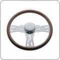 "Steering Wheels and Covers / We have all of the best semi truck steering wheels and steering wheel accessories you'll need to keep your truck looking great. We have leather, alligator skin, and memory foam covers for all 18"" steering wheels as well as chrome horn buttons and steering wheel spinners for even more customization. There are banjo string style spokes, all wood wheels, and even very affordable economy wheels for those on a budget, It doesn't matter what type of truck you drive; we have a steering wheel for you!"