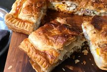 Savouries and bacon and egg pie