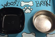 Pet food feeders / Photos of my dog food and cat food trays.