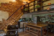 brick, mtal, wood interior decorating