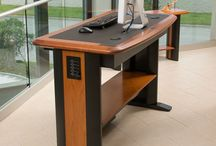 Standing Desks / Adjustable height standing desks that features premium solid cherry hardwood. It's a stand up desk that actually looks like a desk!
