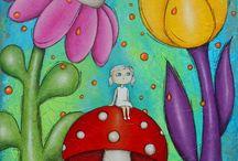 CorinneRougesCreations /  tableaux peinture mixed média enfants colorés décoration chambre