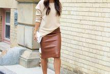 Pencil skirt brown leatherlook