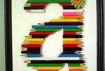 tableau lettre en crayon
