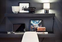 computer desk area / by Elizabeth Corrales