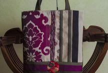 Dahlia bag A1 / Dahlia bag, unique piece, close with a zipper, decorated with piece of kimono vintage in silk, inside lined, size of bag : 38cm x 32cm.