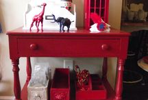 red painted furniture