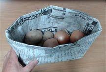 新聞紙のバスケット