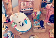 Miniature Ornaments / Tiny intricate miniatures such as cats, teddy bears, tea sets, dolls and doll house furniture