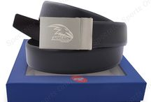 AFL Genuine Leather Belt with Team Logo / Official AFL endorsed product. Support your team everywhere.High quality leather belt with matt finishing team logo on belt buckle. 44 inch strap adjustable to cut to size. Made from 100% genuine leather. Come in gift box. Perfect as gift or daily use