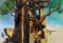 Researchboard Girl, Dragon, Castle