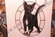 cats stained glass / witraż stained glass dogs psy zawieszki dla domu