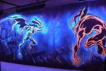 Murals - 3D / Wildfire UV Black light effect