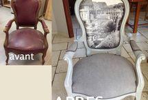 fauteuil Louis Philippe / J'ai restauré et relooké cet ancien fauteuil cassé et déchiré, destiné à la poubelle !!