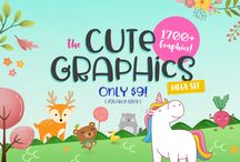 The Cute Graphics Mega Set / With hundreds of cute animals, unicorns, dragons, cute cats, dinos, desserts, food & vegetables, this is a very must-have collection for every designer! Includes a total of 1700 cutest graphics from 32 different graphics packs for JUST $9, and that's only 28¢ per pack!!