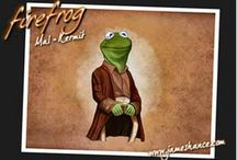 Muppets & Fraggles on Firefly / Joss Whedon's created an innovative and popular sci-fi (space Western, really) TV series 'Firefly' (and a subsequent movie 'Serenity'). Diehard Firefly lovers have lamented for a decade the cancellation of the series, much like the die-hard fans protested the cancellation the original Star Trek TV series (and not without good cause).  Here is a clever mashup of the Muppets, Fraggles, and Firefly characters, affectionately and appropriately entitled 'FireFrog' by artist James Hance.