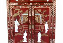 Red Lacquer Mother of Pearl Furniture / Ornately Decorated with Gold Leaf