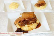 Confit de canard con salsa al Pedro Ximenez y pure de patatas y manzanas