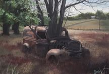 The Rust Bucket Series / This is a group of Paintings that are all about old rusted vehicles and equipment. All a part of our history!