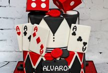 Poker cake,s and cards.