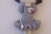 Doudous nounours poupées jouets base tissu