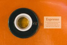 Espresso-based drinks / This gorgeous guide to Espresso-based drinks was created in close collaboration between The Coffeevine, Headfirst Coffee Roasters and Josh Harris (photos and design). Hopefully this will help people to understand the often very fine differences between the 6 most popular Espresso-based beverages.