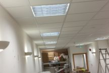 Halifax Plc / New Suspended Ceiling. Half way throught a project carried out by Barnes Interiors. Armstrong 24mm Layin Grid, Supreme Dune Tiles