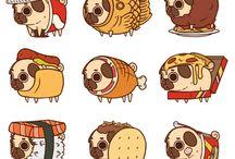 cute cartoon pugs