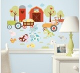 Farm animal themed bedroom / Animal themed accessories including wall stickers and mirrors to create a farm animal themed bedroom for children.,