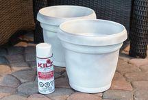 painted plastic plant pots