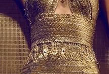 фешн фото золотые платья