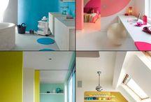 """Color bloc / Mur de couleur / J'aime la couleur ! Mur, sol ou plafond, en passant par le mobilier et les accessoires, voici mes trouvailles et coups de coeur """"color bloc""""."""