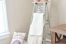 Antique ladder towel rack
