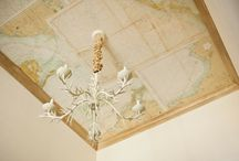 Ceiling Ideas / ceiling moulding ideas, map on ceiling, ceiling treatment ideas