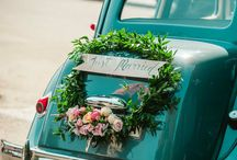 wedding car floral decor