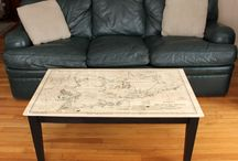 Map Tables- Custom Furniture / Custom Made Coffee and Side Tables displaying your favorite map.  Plan a trip, walk down memory lane or simply enjoy the decorative, historic and artistic view of the world with a custom made map table.