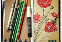 Art Journaling in Travelers Notebook/Leather Quill
