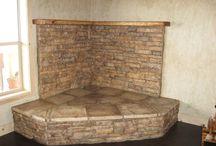 Corner stove mantels / Ideas for a corner mantelpiece