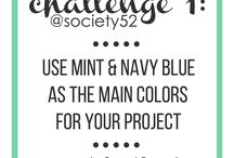 Week 1 - Mint & Navy Blue / Challenge = Mint & Navy blue Twist = add a pop of pink