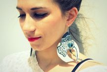 Handmade earrings. JANUARY / Hand made earrings. Made from high quality leather, silver and Swarovski elements. Decorated with hand painted graphics. All made with love and passion.