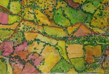 MAP PAINTINGS Sept 2013 - April 2014 and onwards..... to who knows where? / I began this journey in 2005 when we bought Hawkcombe, which is nestled in the bosom of Dorset hills south of Shaftesbury.  I have been going out and painting Melbury and around since we moved here in 1976.....  A map is a metaphor, just another way of finding out, describing.... Exploring, loving