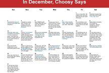 Choosy's Monthly Activity Calendars